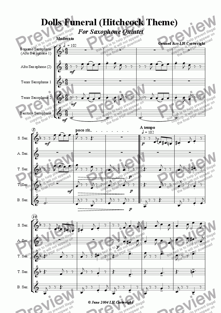 page one of Dolls Funeral (Hitchcock theme) for Saxophone Quintet