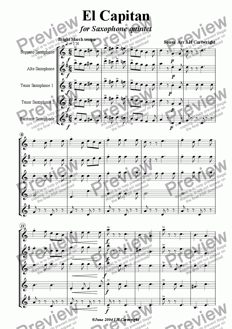 page one of El Capitan for Saxophone quintet