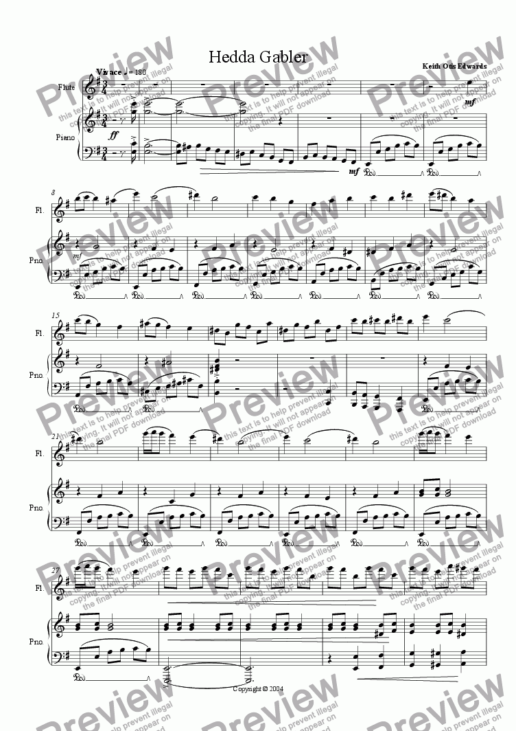 page one of Ibsen Suite for Flute & Piano: 1. Hedda Gabler
