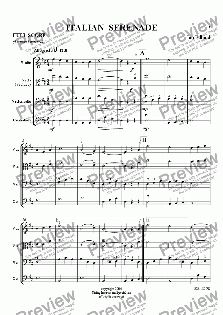 page one of Italian SerenadeASALTTEXT