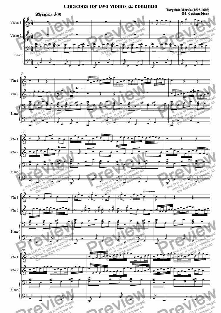 page one of Chaconne for Two Violins & Continuo