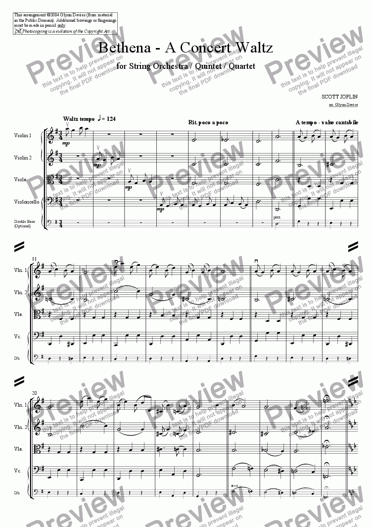 page one of Bethena - A Concert Waltz
