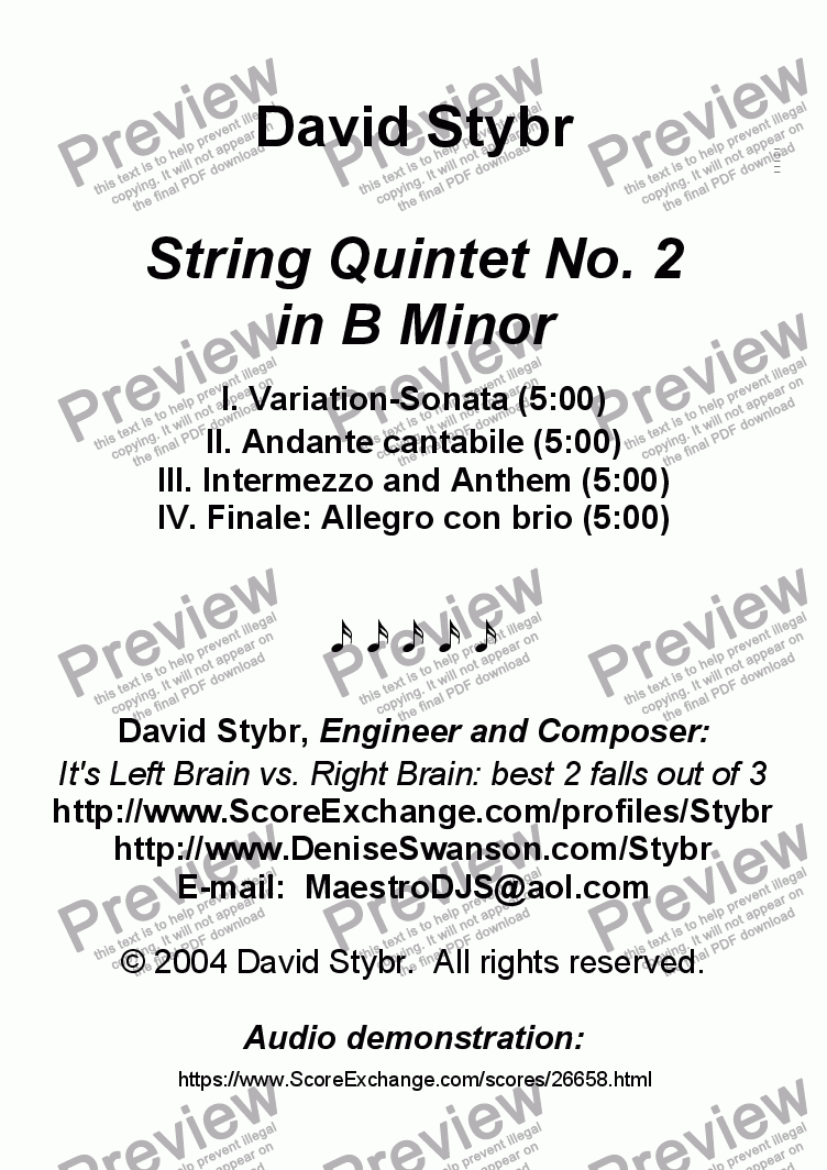 page one of String Quintet No. 2 in B Minor (complete)