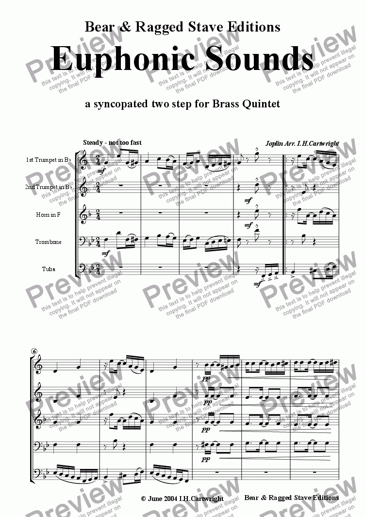 page one of Euphonic Sounds for Brass Quintet