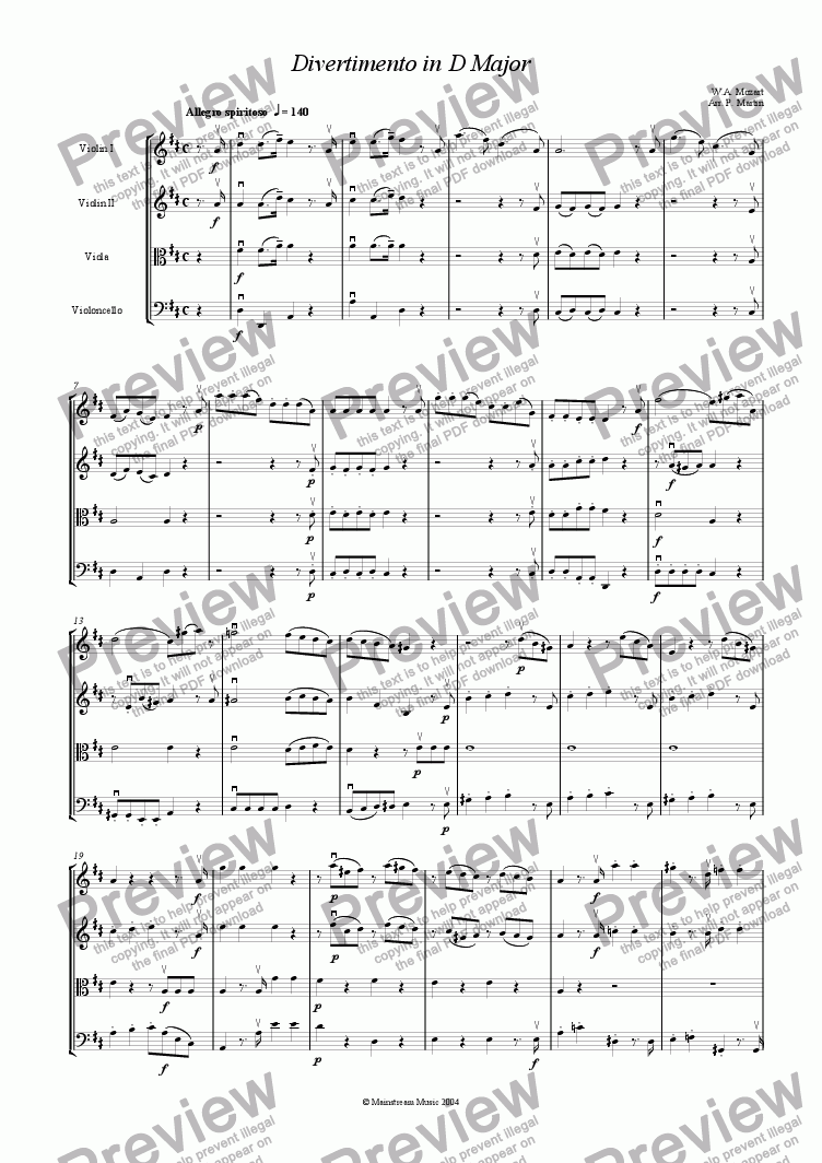 page one of Divertimento in D major