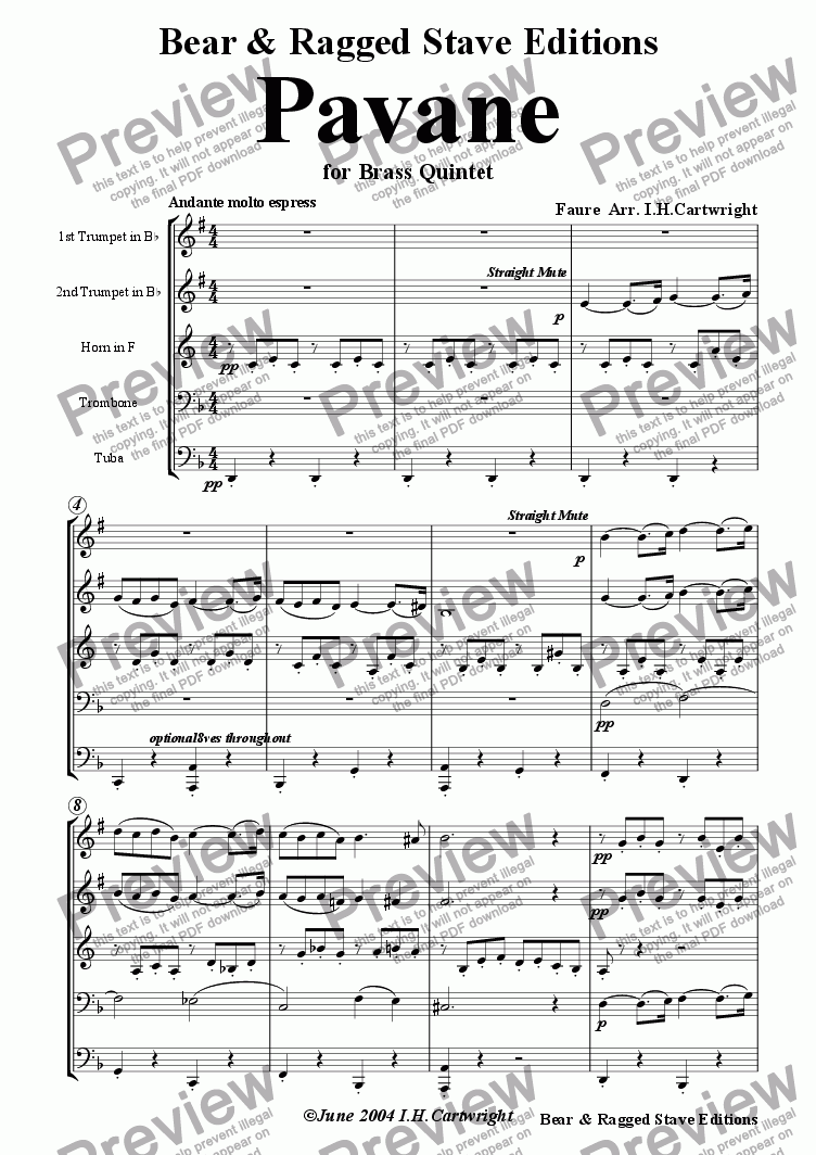 page one of Pavane for Brass quintet
