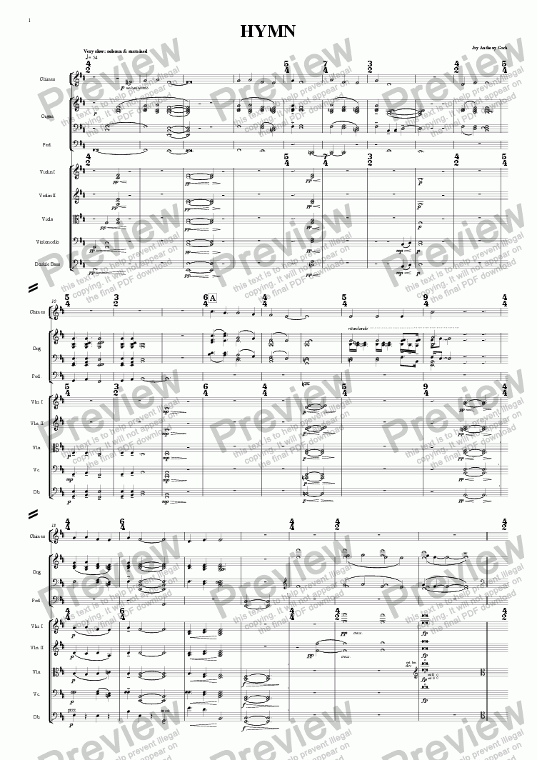 "page one of HYMN (from ""A Song, a Hymn & a Chant"") lg. orch."