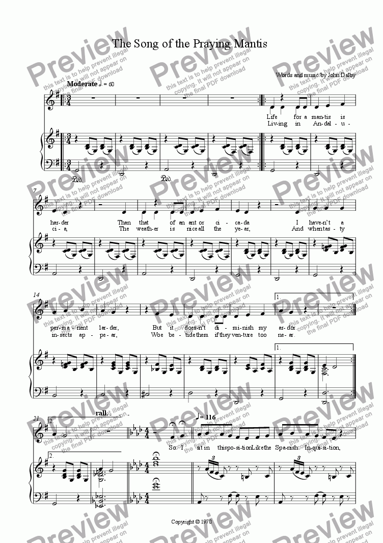page one of The Song of the Praying Mantis