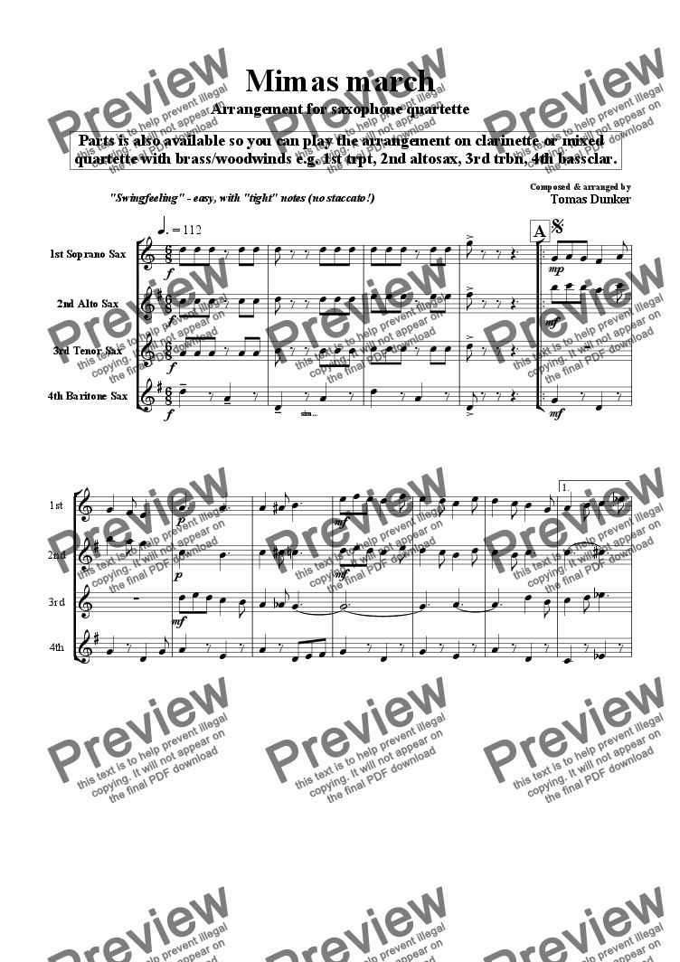 page one of Mimas March (sax/clar/mix quart)ASALTTEXT