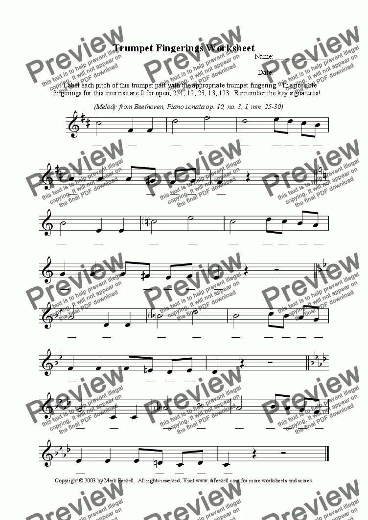page one of Trumpet fingerings worksheet