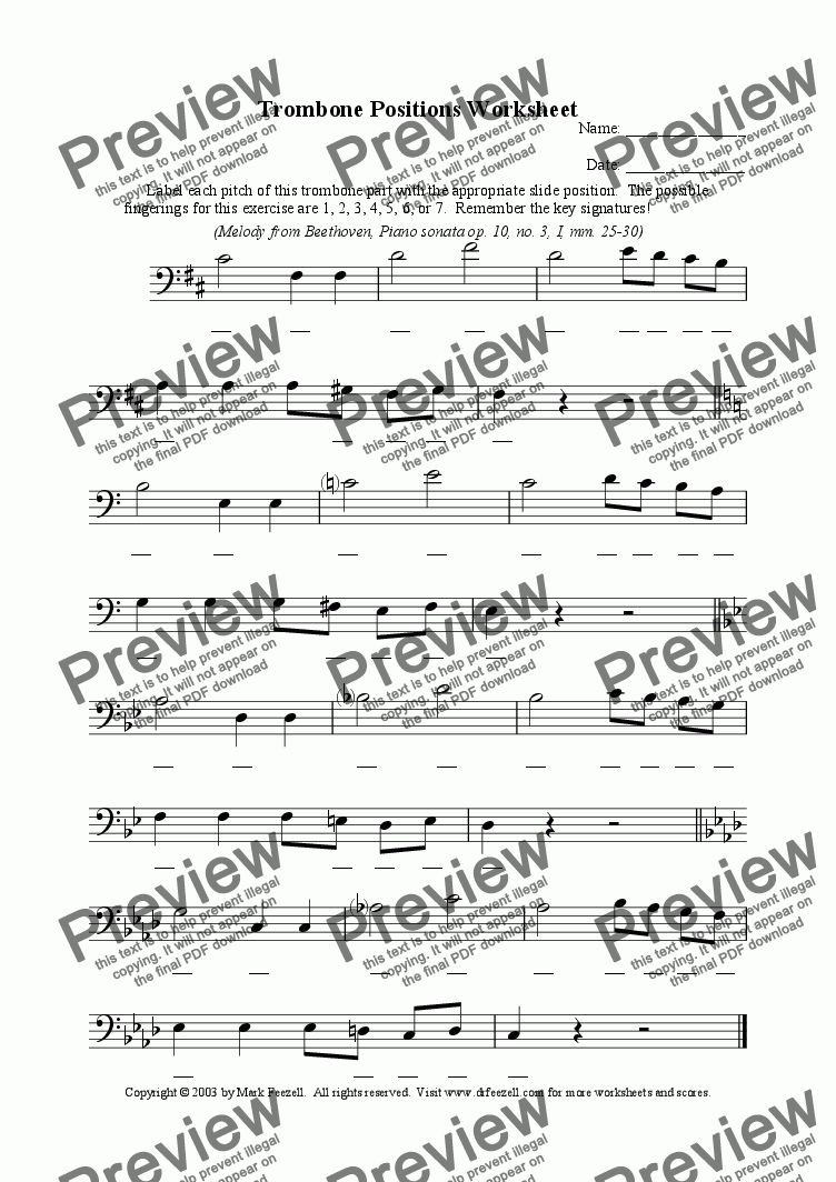 page one of Trombone positions worksheet