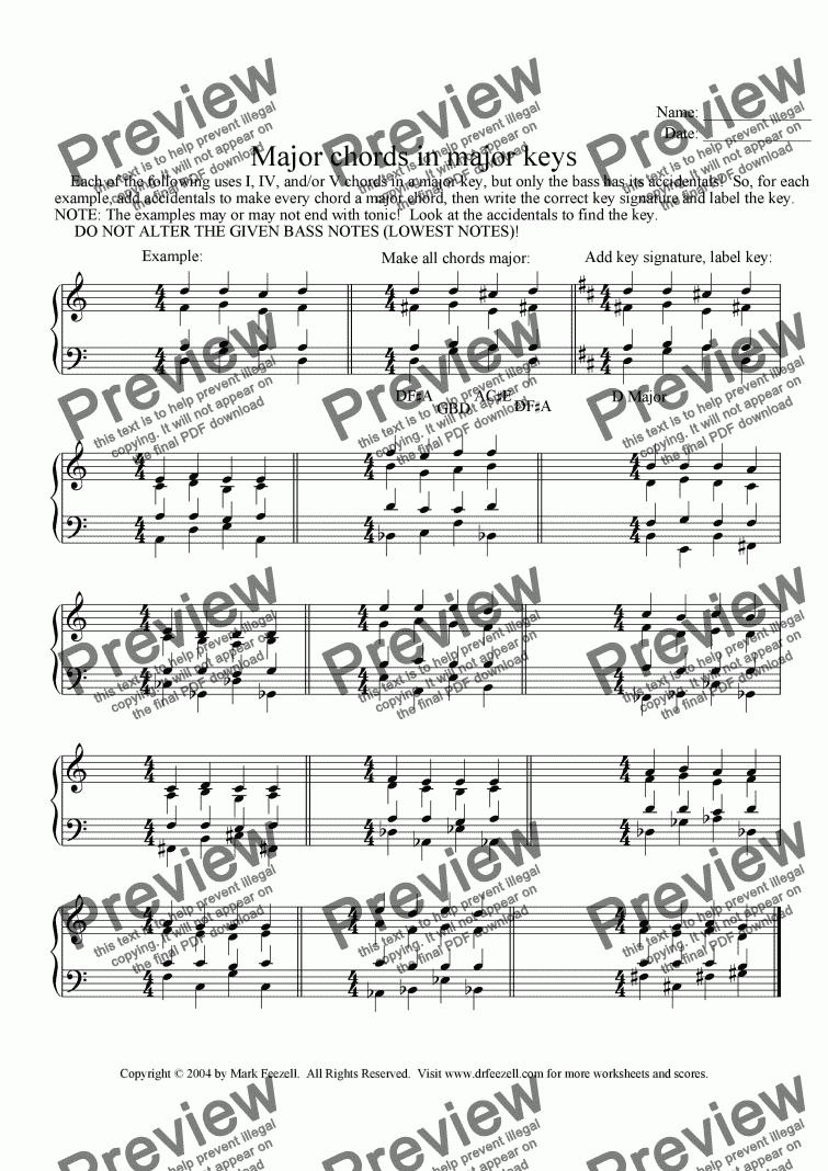 Major Chords In Keys Worksheet Download Sheet Music Pdf File