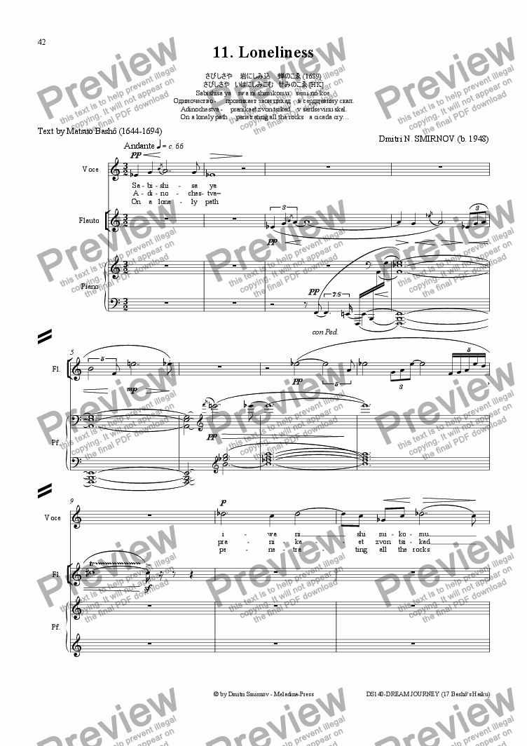 page one of DREAM JOURNEY (Basho) op140/11. Loneliness. Voice, fl, pf