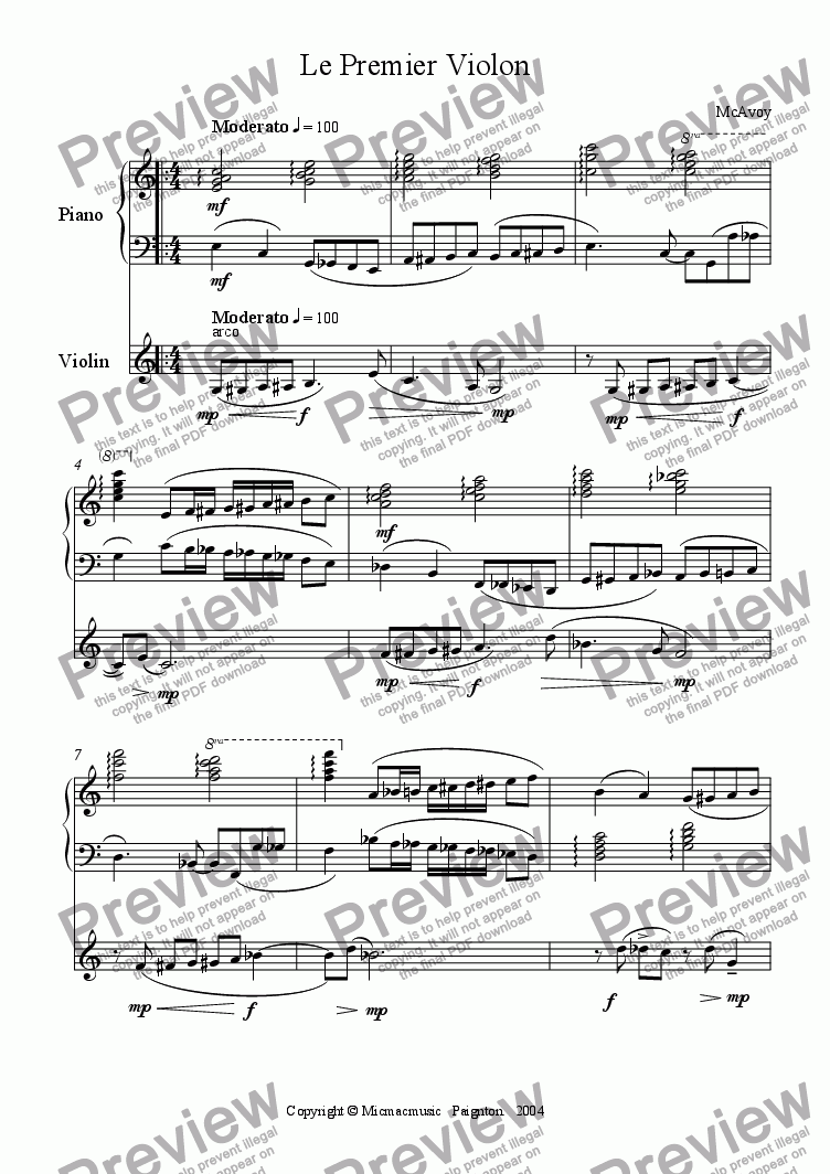 page one of Le Premier Violon