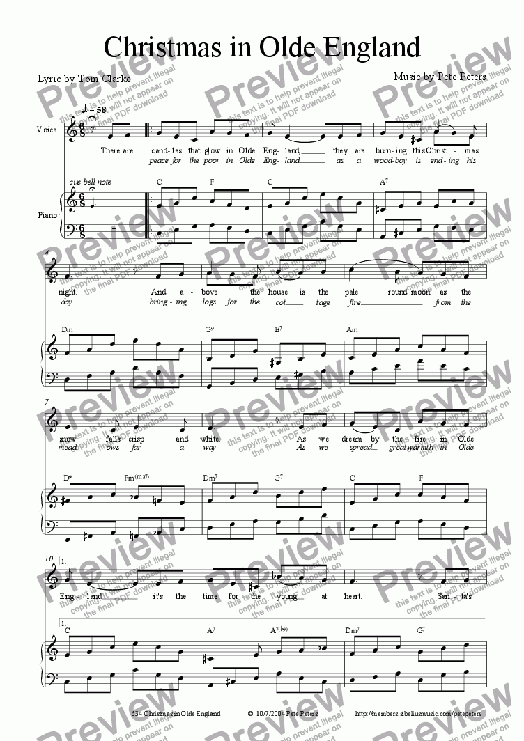page one of Christmas in Olde England [vocal + Piano]