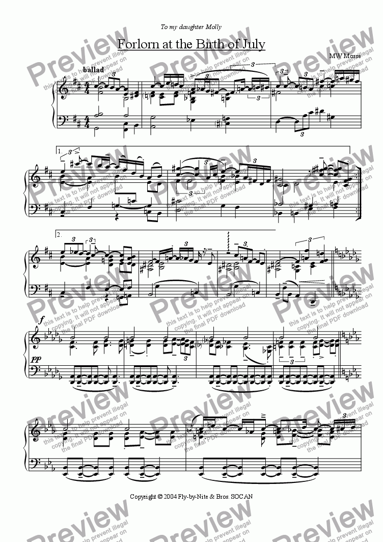 page one of Ballad Trilogy II - Forlorn at the Birth of JulyASALTTEXT