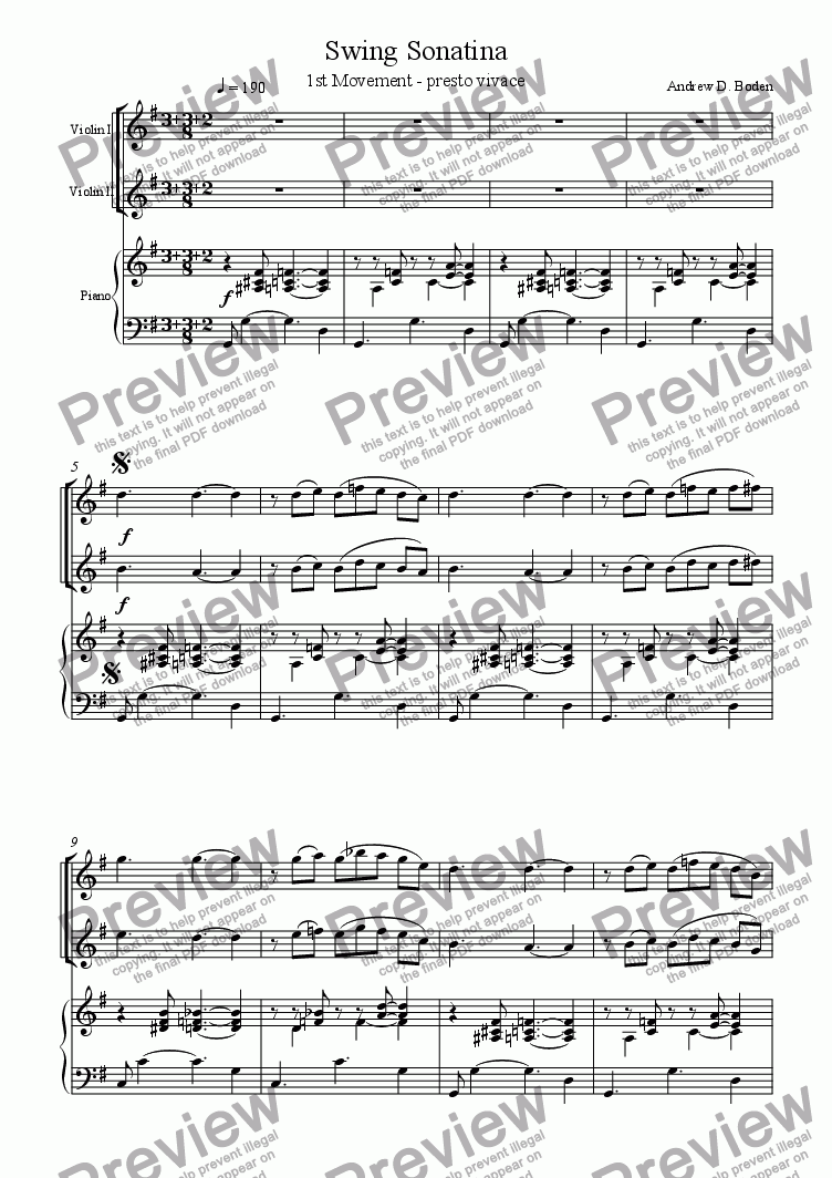 page one of Swing Sonatina