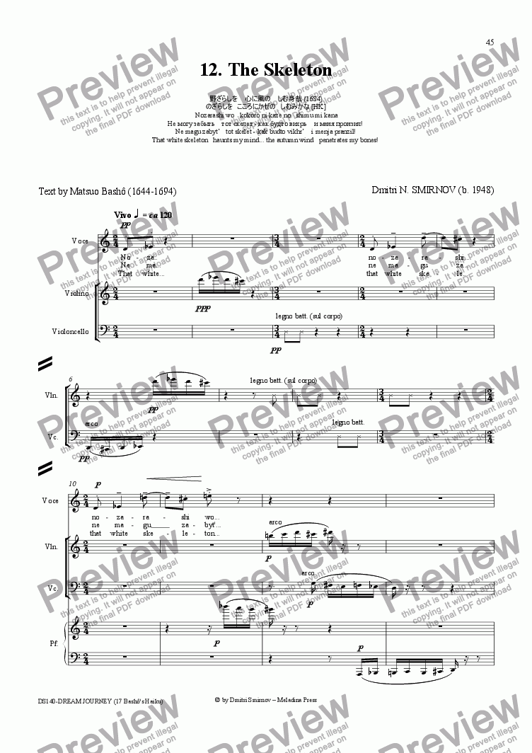 page one of DREAM JOURNEY (Basho) op140/12. Skeleton. Voice, pf trio