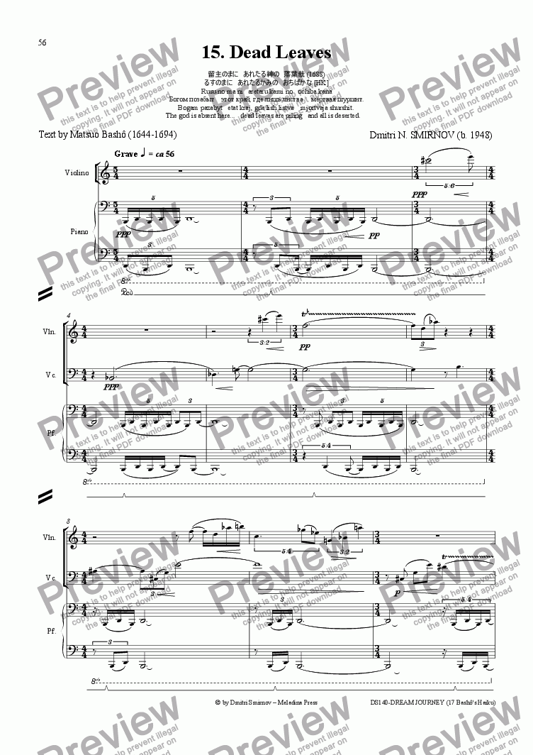 page one of DREAM JOURNEY (Basho) op140/15. Dead Leaves. Voice, pf trioASALTTEXT