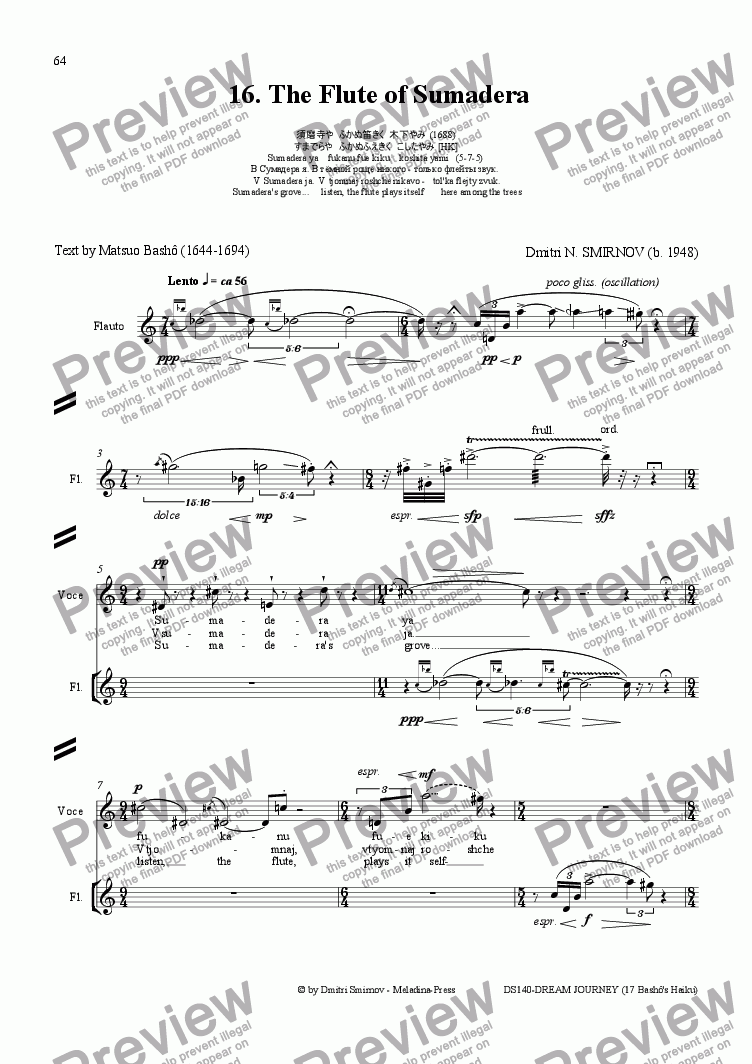 page one of DREAM JOURNEY (Basho) op140/16. Flute of Sumadera. Voice, flASALTTEXT
