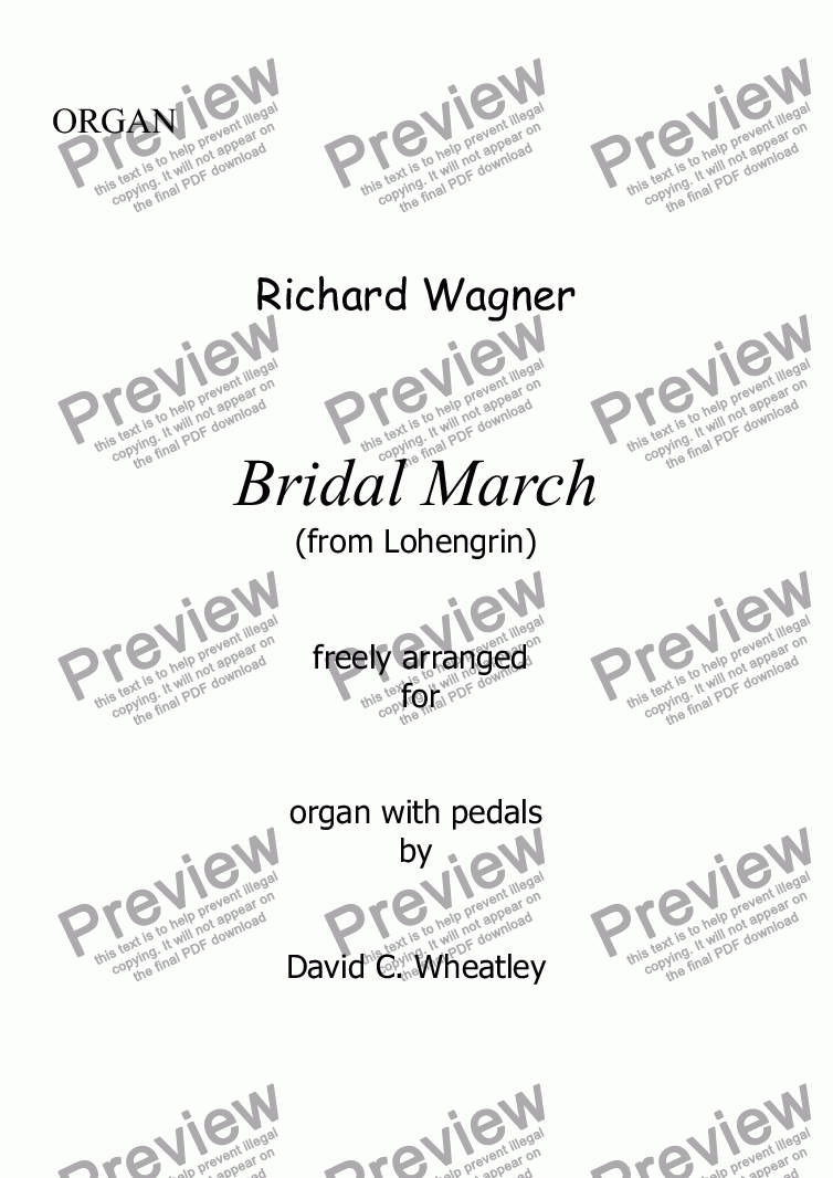 page one of Wagner - Bridal March (Lohengrin) for organ solo