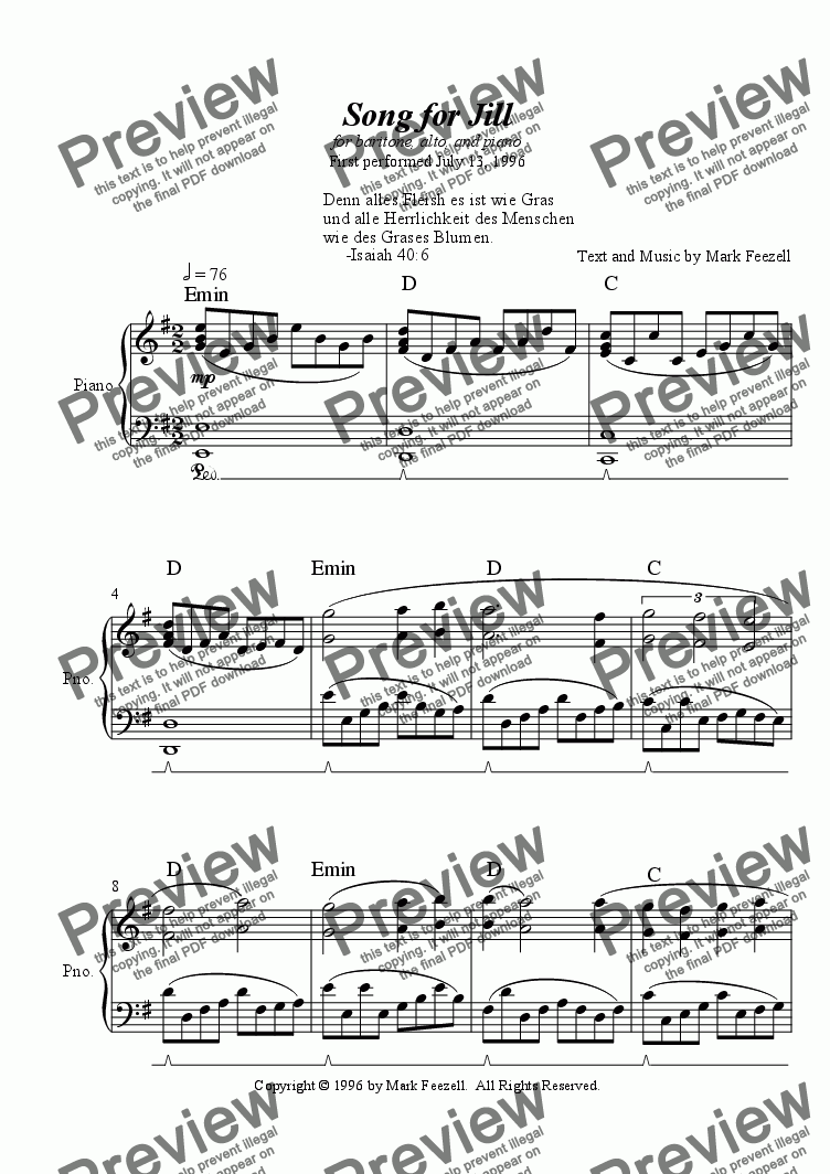 page one of Song for Jill for baritone, alto, and piano (1996)