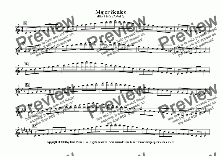 page one of Major/Minor Scales: Alto Flute (C4-A6)
