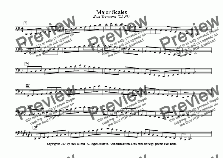 page one of Major/Minor Scales: Bass Trombone (C2-F4)