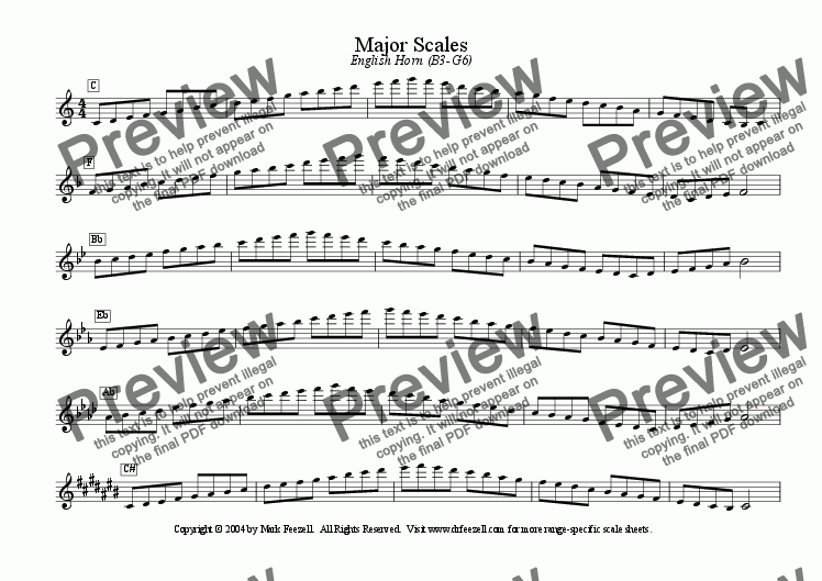 page one of Major/Minor Scales: English Horn (B3-G6)ASALTTEXT