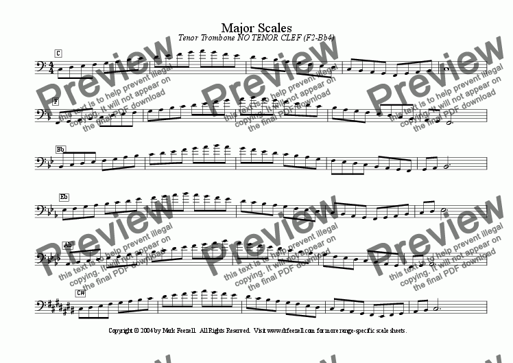 page one of Major/Minor Scales: Trombone NO TENOR CLEF (F2-Bb4)