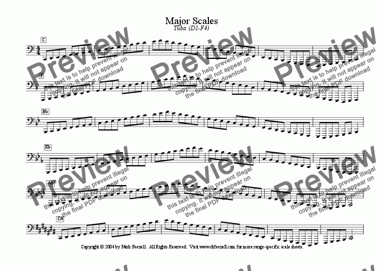 page one of Major/Minor Scales: Tuba (D1-F4)