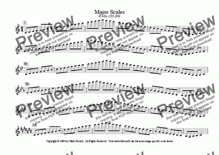 page one of Major/Minor Scales: Violin (G3-B6)