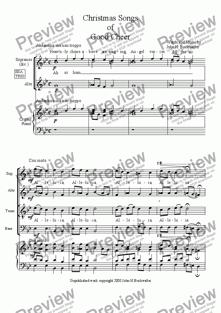 page one of Christmas Songs of Good Cheer