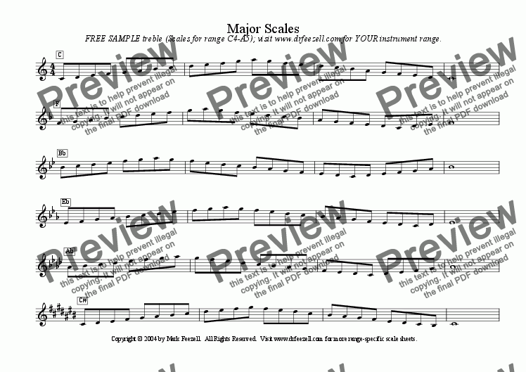page one of Treble clef scales - FREE - major scales / minor scalesASALTTEXT