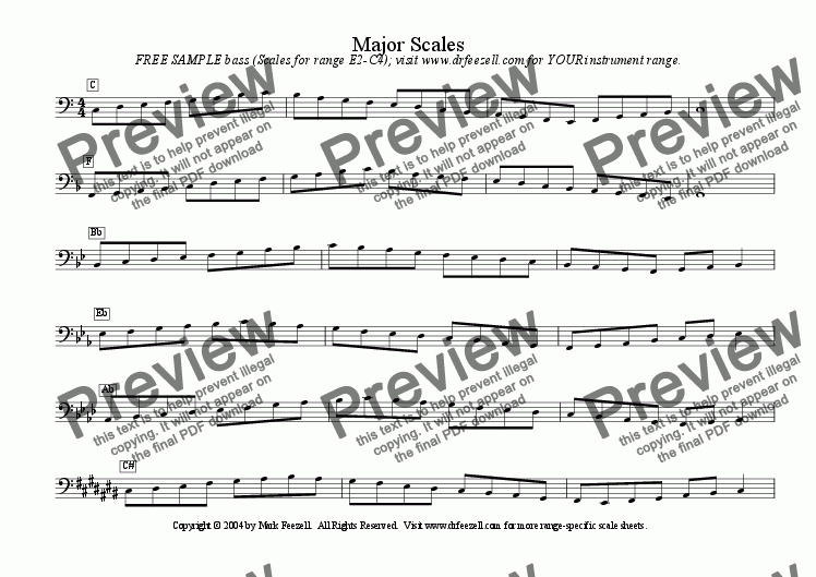 page one of Bass clef scales - FREE - major scales / minor scales