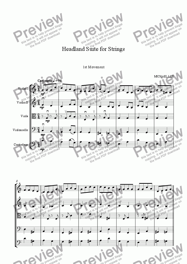 page one of Headland Suite For Strings