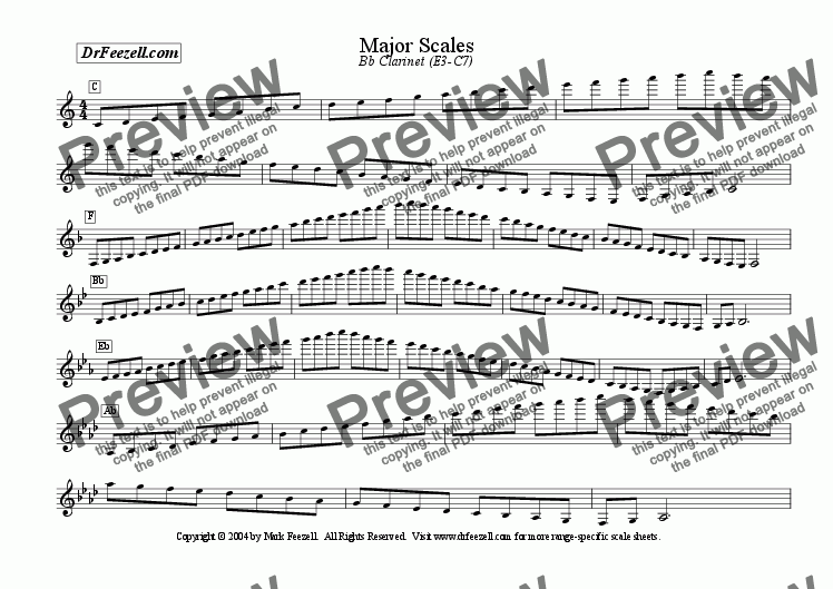 page one of Major/Minor Scales: Clarinet/Bass Clarinet MULTIPACK