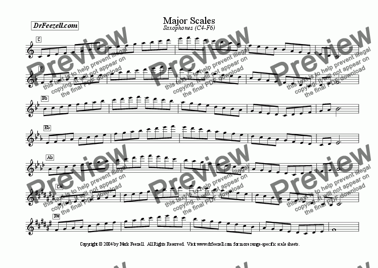 page one of Major/Minor Scales: Saxophone MULTIPACK