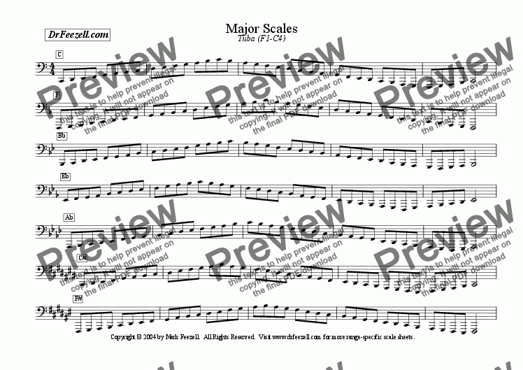 page one of Major/Minor Scales: Tuba MULTIPACK