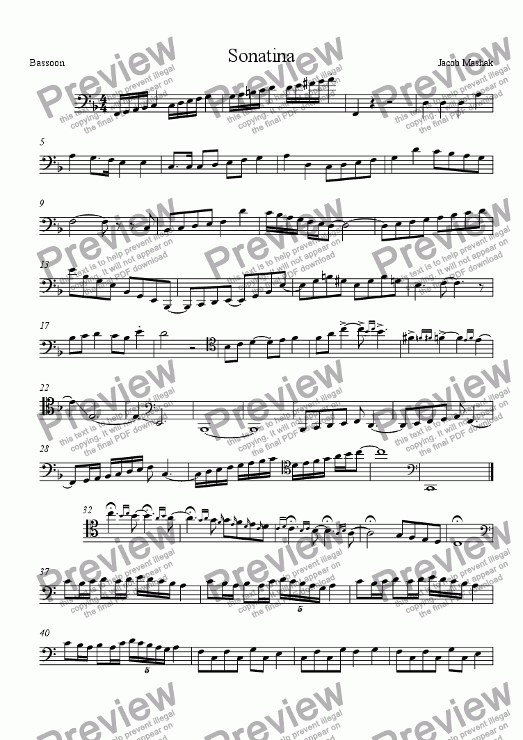 page one of Petite Sonatinas De Noel Pour Mes Amis - Bassoon