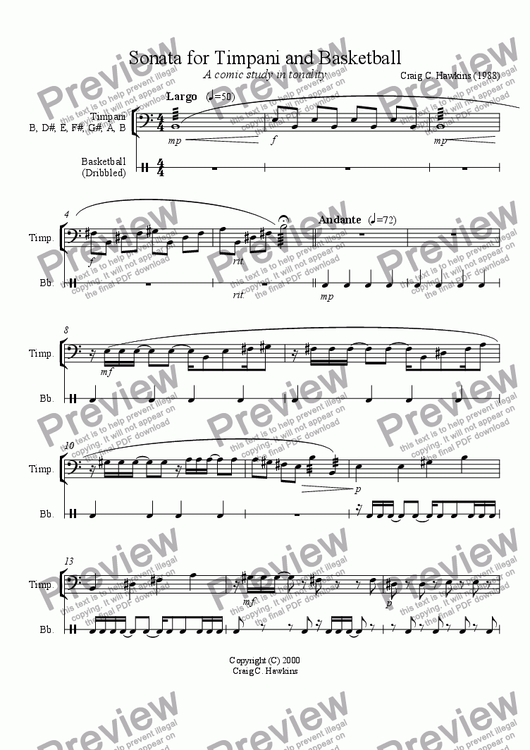 page one of Sonata for Timpani and Basketball