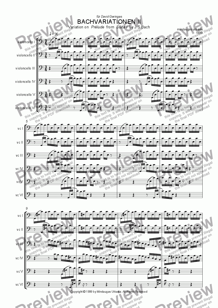 page one of from Bachvariationen II: Variation on Prelude from Suite I by J.S.Bach