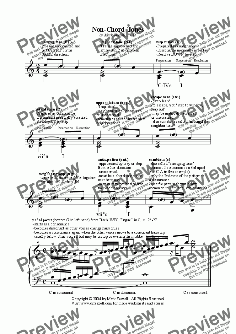 page one of Non-chord tones handout