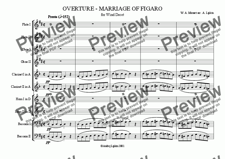 page one of Overture - Marriage of Figaro for Wind Decet