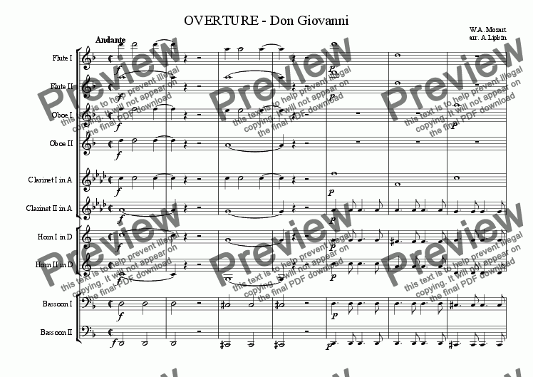 page one of Overture - Don Giovanni