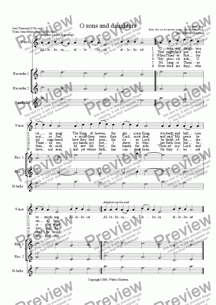 page one of O sons and daughters - Voice + recorder trioASALTTEXT
