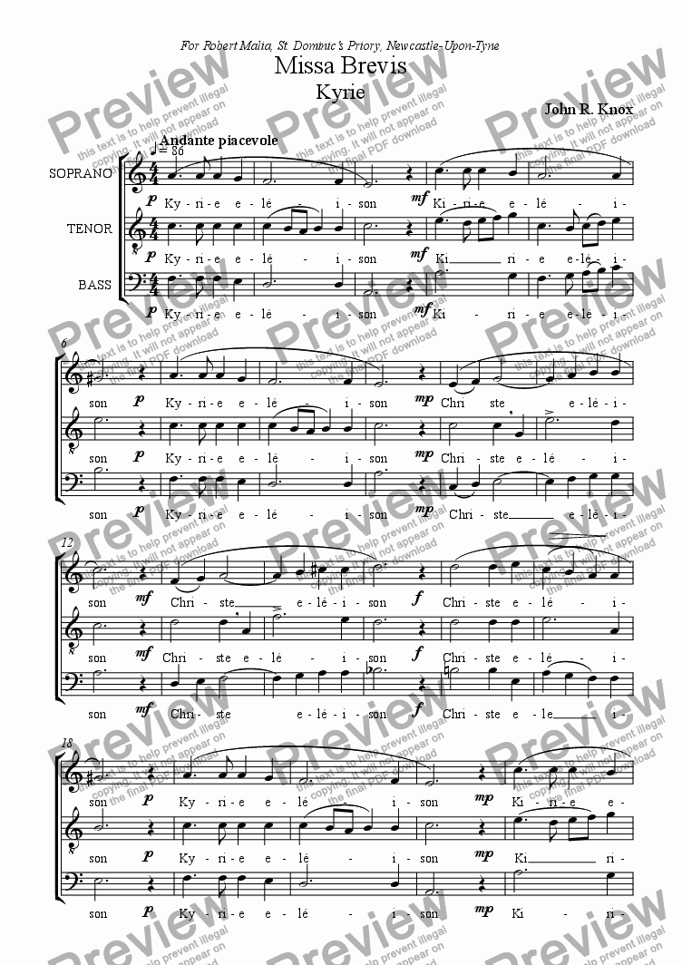 page one of Missa Brevis