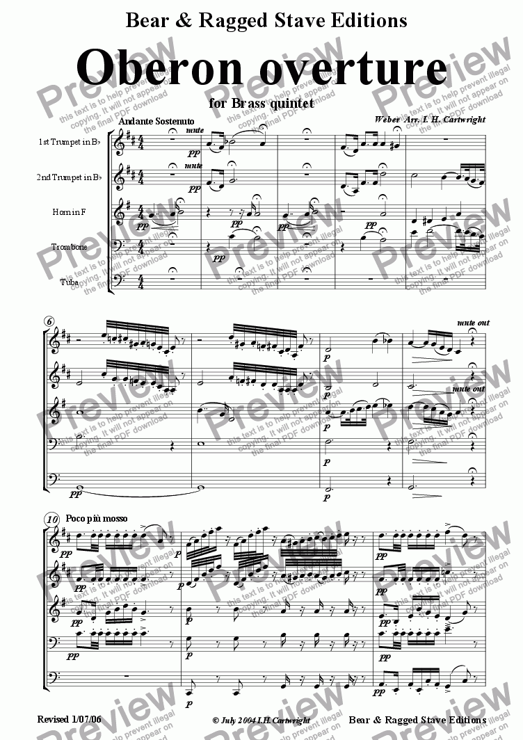 page one of Oberon Overture for Brass Quintet