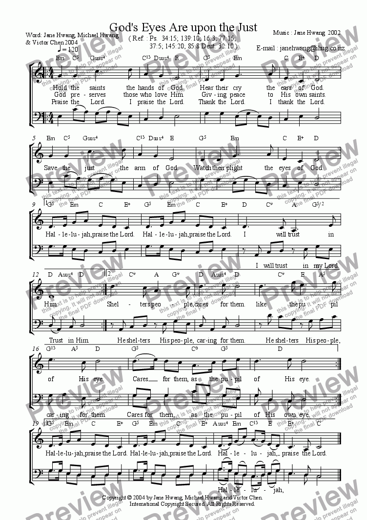 page one of God's Eyes Are upon the Just (Duet)