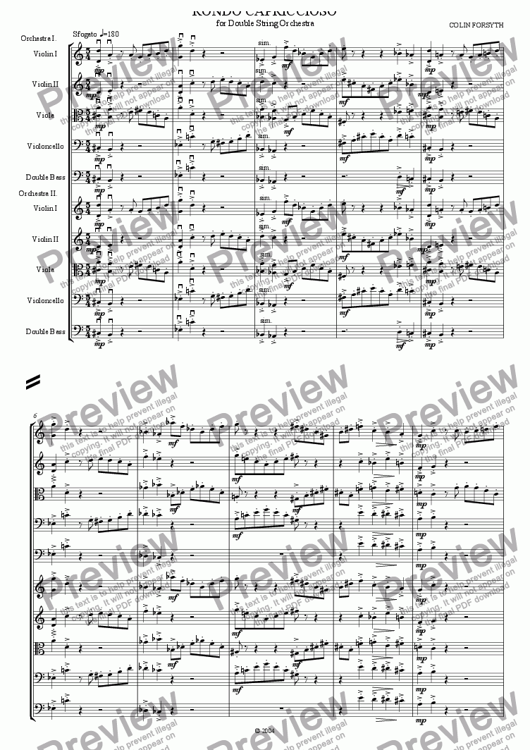 page one of 'Rondo Capriccioso' for Double String Orchestra.ASALTTEXT